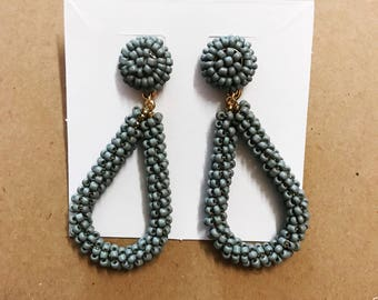 Gray beaded earrings
