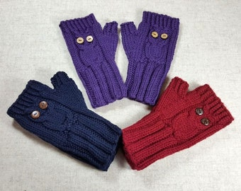 Owls Fingerless Gloves for kids or teenager, handknitted wrist warmers, sustainable mittens, eco gloves, eco-friendly gifts for kids