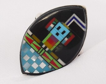 Vintage Zuni Style Ring Silver Inlay Size 6 Southwestern Inlaid Kachina Jewelry