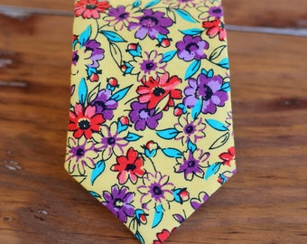 Boys Floral Yellow Cotton Necktie, neck tie in infant, toddler, or child sizes, pre-tied necktie, ring bearer necktie, little boy tie, gift