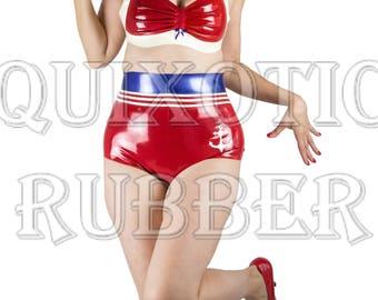 READY TO SHIP Latex Retro / Vintage High Waist Sailor Panties