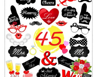 45 props DIY wedding, engagement, decoration party photo booth props (pdf, download, digital, printable, instant download )
