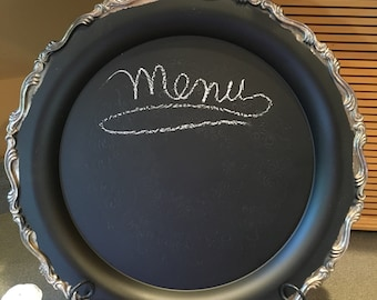 Large Round Silverplate Tray Chalkboard Message Center