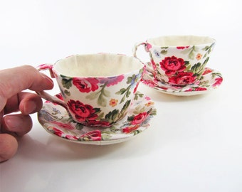 Textile Teacup Tidy- Luscious Rose on White