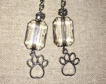 Gray Sparkle Paw Drop Earrings