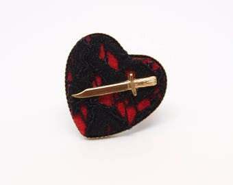 Heart Ring - Erzulie Dantor Heart and Dagger Ring by Ugly Shyla - Valentines - Voodoo - Black Lace - Gothic Jewelry - Blood Goddess