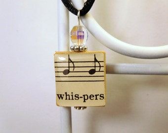 WHISPERS Pendant / Vintage Music Note Scrabble Jewelry / Charm / Necklace with Cord