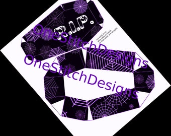 Printable Halloween Favor Coffin Gift Box Spiderwebs RIP Goth Decoration Black and Purple DIY Halloween