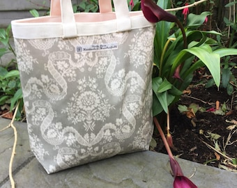 Oilcloth Lunch Tote, oilcloth lunch sack, oilcloth lunch bag, grey hand bag, grey lunch bag, grey lunch tote, grey lunch sack, small tote