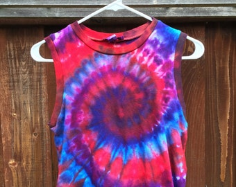 Small red and purple tie dye swirl crop top