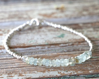 Aquamarine Bracelet With Karen Hill Tribe Silver Beads March Birthstone Gift for Her