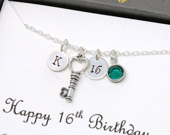 16th Birthday Necklace In Sterling Silver For Girls, Personalised Birthday Necklace With Key Charm, Initial, Birthstone And Custom Message