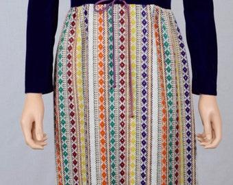 Vintage 1960's Pat Richards Woven Metallic Tapestry Velvet Laced HiPPiE BoHo Dress M
