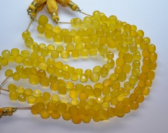AAA-8 Inch Strand 6-7mm 52 Beads-Spring Yellow Chalcedony Microfaceted Onion Briolette Beads Strand-50 Beads