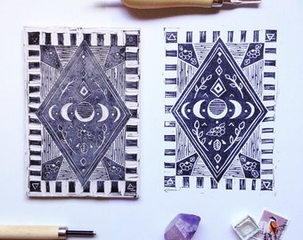 New Moon Mini linoprint - boho diamond moon phases and flowers hand-carved and printed