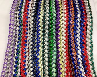 Braided Ribbon Leis for Graduation-Pick your school color, personalized ribbon