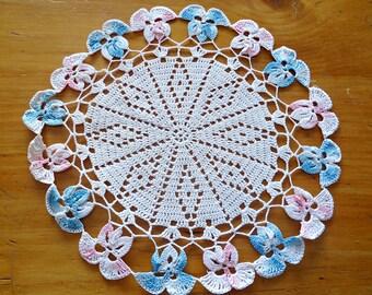 Crocheted Doily Pink Blue Violets Vintage Doilies Doily G11