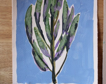 SAGE original handpainted gouache on paper 6x8