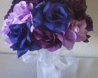 Royal Blue Purple Lavender Rose Bridal Wedding Bouquet & Boutonniere