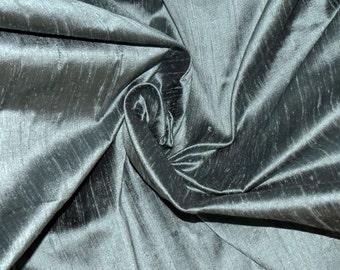 Silk Dupioni in  Ash gray with Greenish black shimmers, Half yard DEX 233