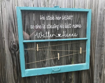 ON SALE Rustic photo holder - wedding picture display - he stole her heart sign - twine photo holder - clothespin photo display - 2 pane woo