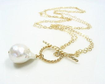 Baroque Freshwater Pearl Necklace, Large Baroque Pearl, Toggle Necklace, June Birthstone, Large Pearl Necklace, 14K Gold Filled, White Pearl