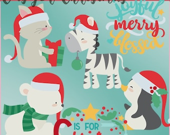 C is for Christmas clipart -Personal and Limited Commercial Use- Cute cat, zebra, penguin, polar bear, and word art clip art