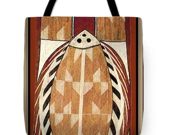 Aboriginal Maori Fish PolyPoplin Tote Bag - Or, SilkyPoly Throw Pillow Gift - Tribal Decor - Laptop Bag - Diaper Bag - Maori Tote Bag Gift