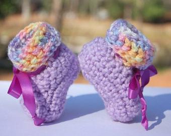 Purple Baby Booties - Purple Girl Baby Booties - Rainbow Booties - Crochet Booties - Booties With Ribbon