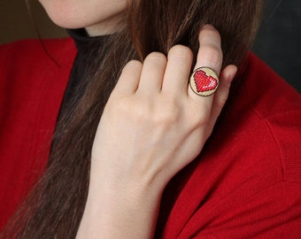 Red heart ring Hand embroidery Cross stitch ring Gift for beloved Embroidered ring Gift for girlfriend Red ring Love jewelry Something red