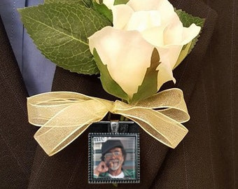 SALE! Memorial Boutonniere Charm - Single-sided - Personalized with Photo - Square - Silver or Bronze Finish- Cyber Monday