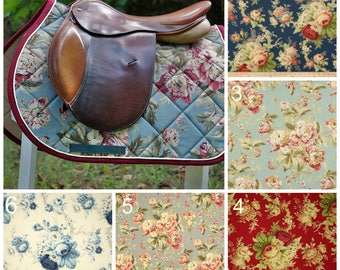 Custom Saddle Pad Cabbage Rose - Chintz // Floral // Spring - Made to Order