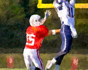 Football Receiver Going High For The Catch