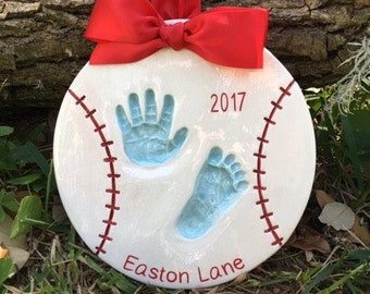 Ceramic Hand Print - Personalized Baby Footprints - Newborn Footprint Keepsake - Baby Handprint and Footprint Art - Custom Baby Memento