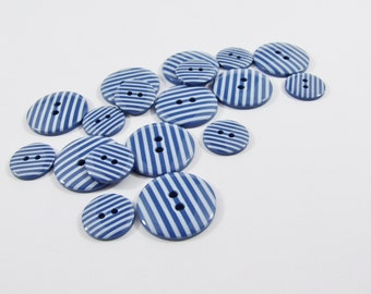 Candy Stripe Buttons - Navy Sewing Buttons / Knitting Buttons / Craft Buttons / Button Supplies UK