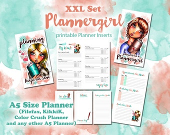 XXL Plannergirl Set - printable Inserts for Ringbound Planner A5 Size - Filofax, KikkiK, Colorcrush - Day on 1 Page, Week on 2 Pages etc.