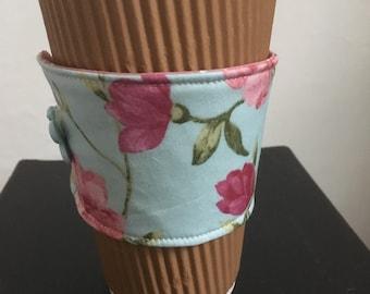 Flowers coffee cozy