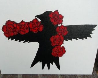 Crow with Roses