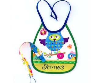 Baby Boy Personalized Gift Newborn Accessory Set for Baby Boys Personalized Baby Boy Bibs Embroidery Bib Green Baby Boys Bib Binky Holder