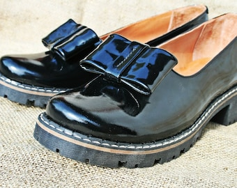 Black patent leather shoes flatforms loafers