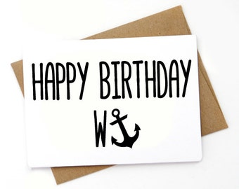 Funny  Happy Birthday Wanker Card, Card for her, Card for him, Card for coworker, Card for friend, Sarcastic Card