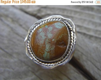 ON SALE Handmade turquoise ring in sterling silver
