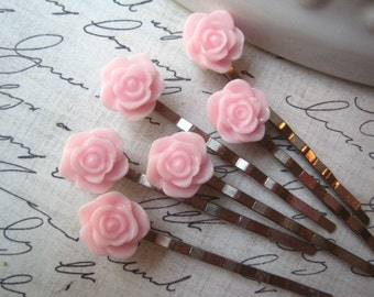 Pink Bobby Pin Set, 6 pc Flower Hairpins, Hair Accessory, Bridesmaid Gift, Flower Girl