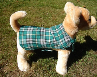 Dog Jacket -  Cape Breton Tartan Dog Coat- Size XX Small- 8-10 Inch Back Length - Or Custom Size