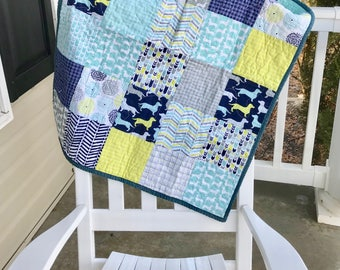 Baby quilt- Puppy baby quilt, dog baby quilt, Dachshund baby quilt, Ready to ship, baby shower gift, new baby gift, Baby boy quilt