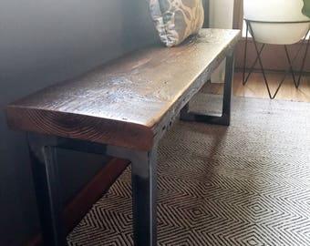 R U R A L | salvage Wood Bench with Modern Steel Legs