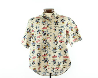 80s Mickey Mouse Shirt Short Sleeve Button Up Down Vintage 1980s Mens Size Large Tan Cotton