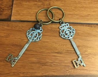 Patina keychain, key keychain, lava bead, essential oils, key ring, keyring, key chain, essential oils, oils keychain, Antiqued keychain