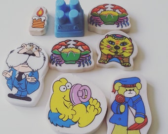 8, Vintage, retro, erasers, rubber, danger mouse, crab, candle, sand castle, teddy, rainbow, scented, 1980s, 80s, by NewellsJewels on etsy
