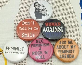 "6 Brand New 1"" ""Feminist"" Buttons"
